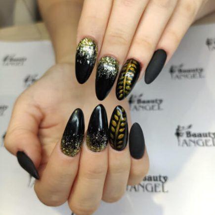 Czarno-złote paznokcie hybrydowe Beauty Angel
