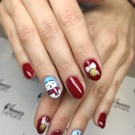 Świąteczne paznokcie hybrydowe Beauty Angel Rzeszów