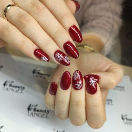 Bordowe paznokcie hybrydowe Beauty Angel Studio Urody